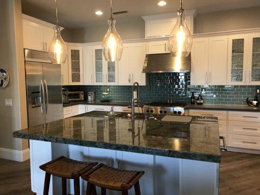 White and Dark Teal Kitchen