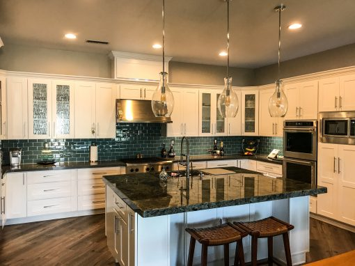 White and Dark Teal Kitchen